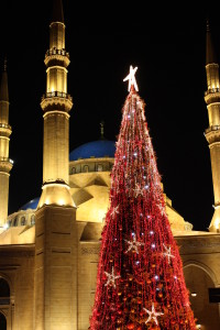 Beirut Mosque with Christmas Tree